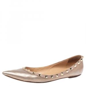 Valentino Metallic Leather Rockstud Ballet Flats Size 40 - used