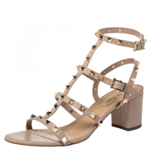 Valentino Beige Leather Rockstud Block Heel Strappy Sandals Size 39