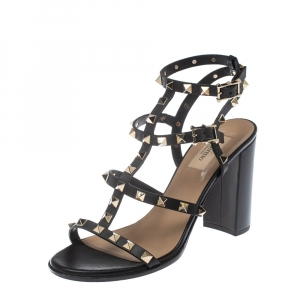 Valentino Black Leather Rockstud Ankle Strappy Block Heel Sandals Size 39.5