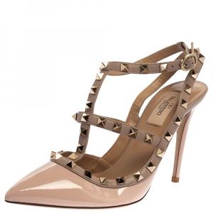 Valentino Blush Pink Leather Rockstud Ankle Strap Sandals Size 38.5