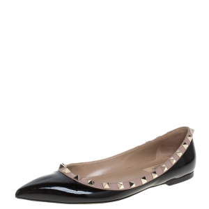 Valentino Black Patent Leather Rockstud Ballet Flats Size 38.5