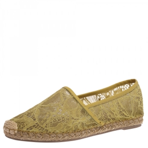 Valentino Neon Green Lace And Leather Trim Espadrille Flats Size 39 - used