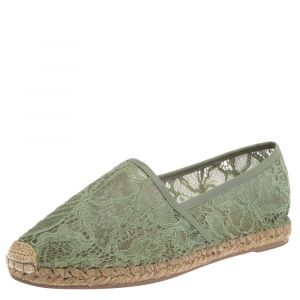 Valentino Green Lace And Leather Trim Espadrille Flats Size 39 - used