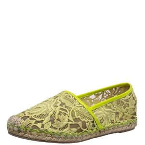Valentino Yellow Lace Espadrille Flats Size 36 - used