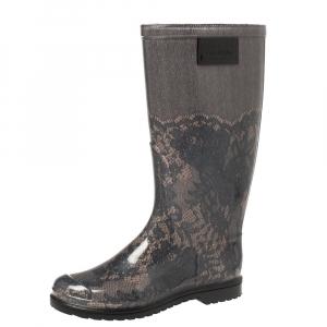 Valentino Black/Beige Lace Print Rubber Rain Boots Size 36 - used