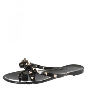 Valentino Black Jelly Rockstud Bow Flat Sandals Size 38 - used