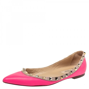 Valentino Pink Leather Rockstud Ballet Flats Size 37.5 - used