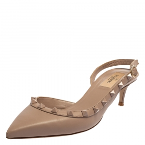 Valentino Beige Leather Rockstud D'orsay Slingback Sandals Size 37.5
