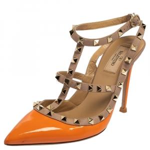 Valentino Orange/Beige Patent Leather Rockstud Sandals Size 40