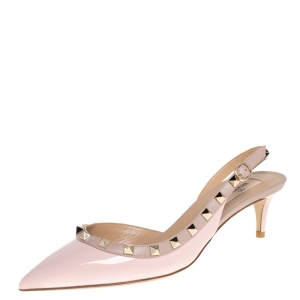 Valentino Blush Pink Patent Leather Rockstud Slingback Sandals Size 39.5