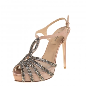 Valentino Beige Crystal Embellished Suede And Mesh Platform Ankle Strap Sandals Size 37 - used