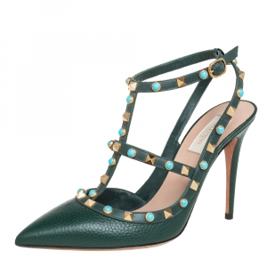 Valentino Dark Green  Leather Rolling Rockstud Pointed Toe Ankle Strap Sandals Size 40
