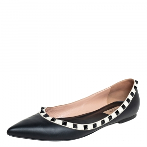 Valentino Black  Leather Rockstud Ballet Flats Size 40