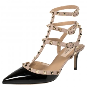 Valentino Black/Beige Patent And  Leather Rockstud Ankle Strap Sandals Size 38
