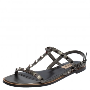 Valentino Metallic Grey Leather Rockstud Slingback Sandals Size 38