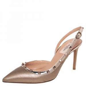 Valentino Metallic Gold Leather Rockstud D'Orsay Slingback Sandals Size 40
