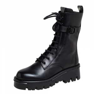 Valentino Black Leather Combat Boots Size 40.5