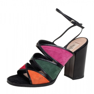 Valentino Multicolour Suede And Leather Ankle Wrap Sandals Size 37.5