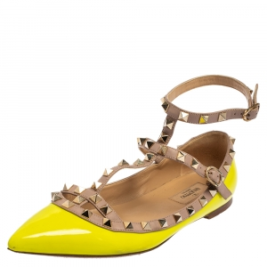 Valentino Neon Green Patent And Leather Rockstud Ankle Strap Ballet Flats Size 38.5