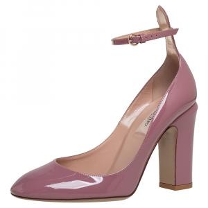 حذاء كعب عالي فالنتينو تانغو سير كاحل جلد لامع وردي فاتح مقاس 36.5