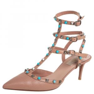 Valentino Beige Leather Rolling Rockstud Ankle Strap Sandals Size 40