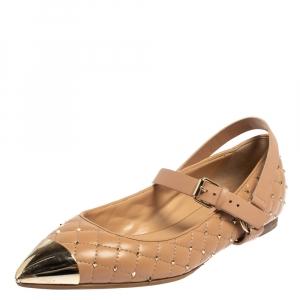 Valentino Beige Leather Rockstud Spike Metal Cap Toe Ballet Flats Size 39