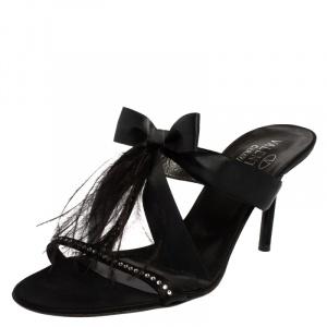 Valentino Black Satin  T Strap Sandals Size 41