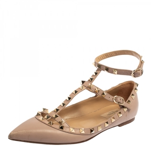 Valentino Beige Leather Rockstud Ankle Strap Ballet Flats Size 38
