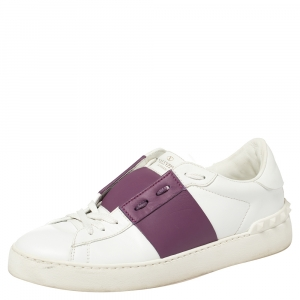 Valentino White/Purple Leather Rockstud Low Top Sneakers Size 39