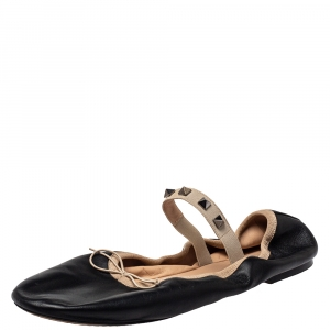 Valentino Black Leather Rockstud Bow Ballet Flats Size 41 - used