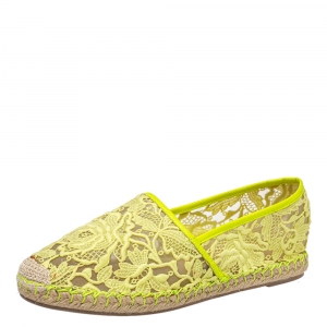 Valentino Neon Yellow Lace Flat Espadrilles Size 38