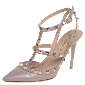 Valentino Blush Pink Leather Rockstud Pointed Toe Ankle Strap Sandals Size 37