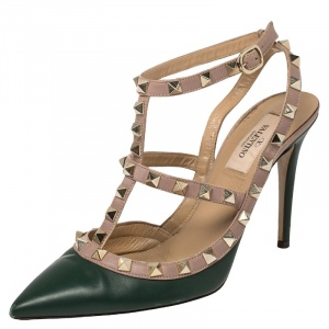 Valentino Green/Beige Leather Rockstud Ankle Strap Sandals Size 37.5