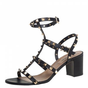 Valentino Black Leather Rockstud Ankle Strap Block Heel Cage Sandals Size 39