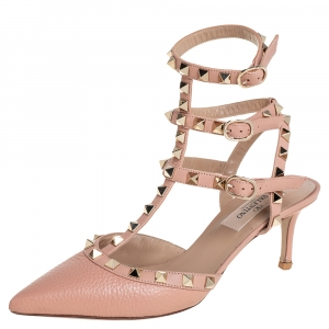 Valentino Beige Leather Rockstud Pointed Toe Ankle Strap Sandals Size 36 - used