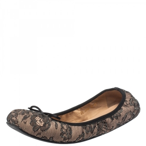Valentino Black/Beige Lace And Satin Embellished Bow Detail Scrunch Flats Size 41 - used