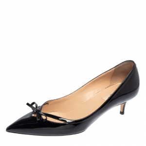 حذاء كعب عالي فالنتينو جلد أسود لامع بفيونكة مقدمة مدببة مقاس 40