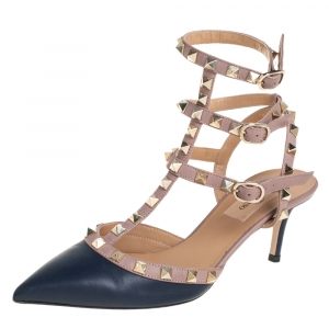 Valentino Blue/Beige Leather Rockstud Pointed Toe Ankle Strap Sandals Size 36.5