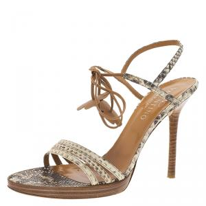 Valentino Beige Python Ankle Strap Sandals Size 39.5 - used