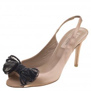 Valentino Beige Satin Lace Bow Detail Peeptoe Slingback Sandals Size 37.5 - used