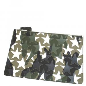 Valentino Green Camustars Embossed Canvas Clutch Bag