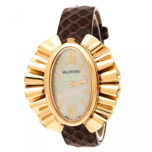Valentino Yellow Mother of Pearl Rose Gold Plated Stainless Steel Princesse V45 Women's Wristwatch 41 mm