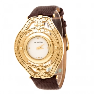 Valentino White Yellow Gold Plated Stainless Steel Classic V58 Women's Wristwatch 42 mm