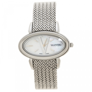 Valentino Mother of Pearl Stainless Steel V50SBQ9991S099 Oval Women's Wristwatch 40 mm
