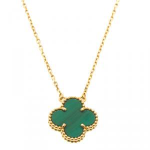 Van Cleef & Arpels Vintage Alhambra Malachite Yellow Gold Pendant Necklace