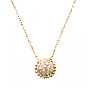 Van Cleef & Arpels Perlee Diamants Diamond 18k Rose Gold Pendant Necklace