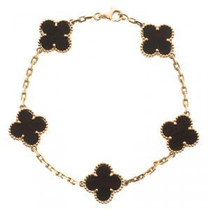 Van Cleef & Arpels Vintage Alhambra 5 Motif Wood 18k Rose Gold Bracelet 19cm