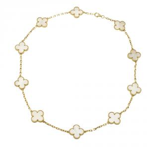 Van Cleef and Arpels Vintage Alhambra 10 Motif Mother of Pearl & 18k Yellow Gold Necklace