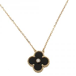 Van Cleef & Arpels Vintage Alhambra Diamond Onyx 18k Rose Gold Pendant Necklace
