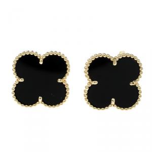 Van Cleef & Arpels Magic Alhambra Onyx & 18k Yellow Gold Stud Earrings